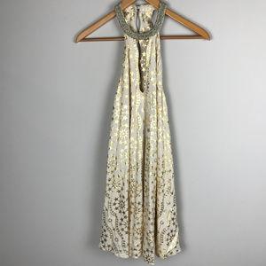 gold/creme Kimchi Blue beaded Sz XS dress